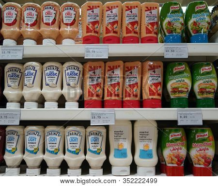 Dubai Uae December 2019 Variety Of Heinz, Knorr Nandos Brand Tomato Ketchup And Mayonnaise Display I