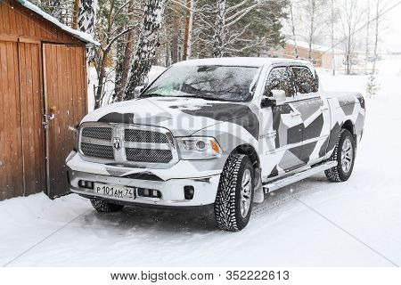 Chelyabinsk Region, Russia - February 8, 2020: Pickup Truck Dodge Ram 1500 At The Countryside.