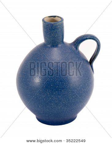Blue Ceramic Jug Vase Handle Isolated On White