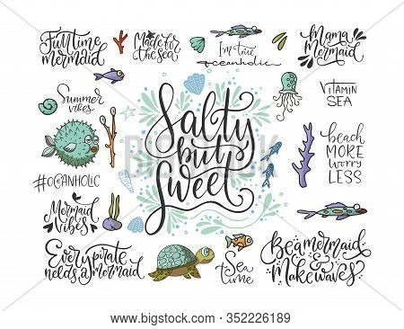 Summer Sea Lettering Big Vector Set. Ocean Quotes And Clip Art Collection. Perfect For T Shirt, Card