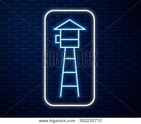 Glowing Neon Line Watch Tower Icon Isolated On Brick Wall Background. Prison Tower, Checkpoint, Prot