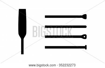 Isolated Element Of Wooden Oar Or Paddle Boat With Different End Piece Triangle, Circle, Rectangle.