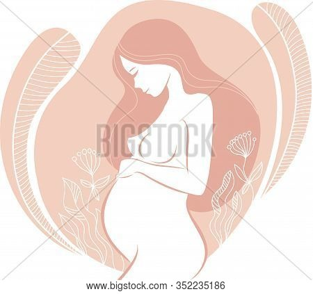 Beautiful Pregnant Woman With Floral Ornaments Vector Art Illustration