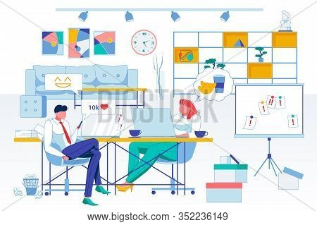 Relax, Workplace Idleness Flat Vector Illustration. Lazy Office Workers, Surfing Internet And Dreami