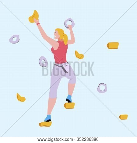 Sporty Woman Climbing On Rock-climbing Wall With Grips And Holds. Female Climber Character. Summer B