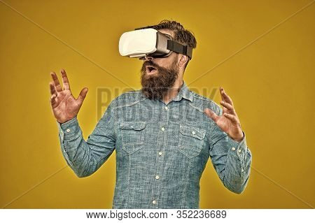 Virtual Reality Is Truly Here. Bearded Man Wear Virtual Reality Headset. Hipster Explore Virtual Rea
