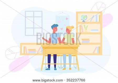 Schoolboys In Love Sit Together At Desk Classroom. Love And Friendship Among Teens. Students Are Sym