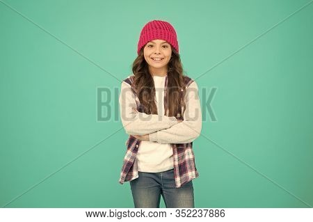 How Cool Am I. Kids Fashion. Girl Cute Child Wear Knitted Hat. Little Girl Wearing Winter Hat. Comfy