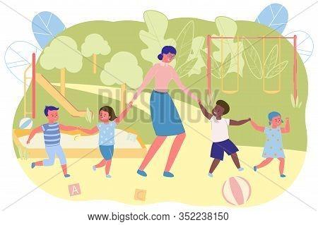 Teacher And Children Walking On Playground In Kindergarten Flat Cartoon Vector Illustration. Happy K