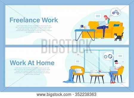 Pros And Cons Freelance And Remote Work. Young Woman Thinking Problem Over Sitting At Home With Lapt