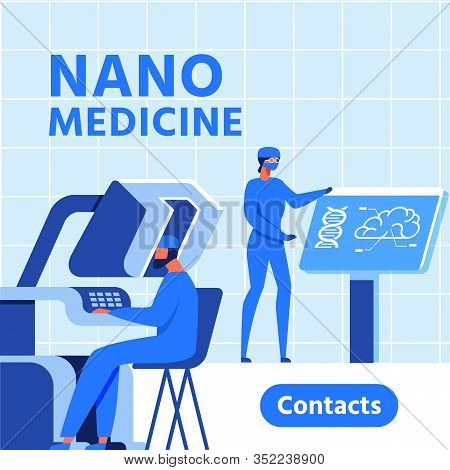 Nano Medicine Research Center Presentation Banner. Male And Female Scientists Characters In Uniform