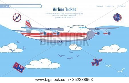 Banner Booking And Buying Plane Tickets, Cartoon. Low Cost And Traditional Airlines, Charters And Lo