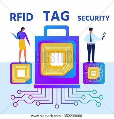 Rfid Tag Security Presentation Cartoon Poster. Radio-frequency Identification With Contain Electroni
