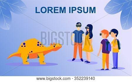 Flat Poster With Cartoon Kids Wearing Vr Glasses Playing With Dinosaur Stegosaurus Simulator. Prehis
