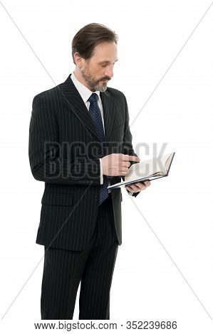 Lecturer With Book. Business School Education. Serious Businessman Hold Book. Mature Man Reading Boo