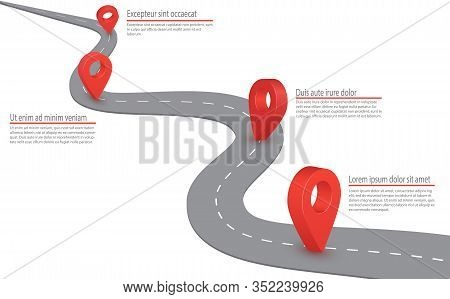 Highway Road Infographic. Highway Road With Gps Sign On It. Vector Infographic With A Tortuous Road.