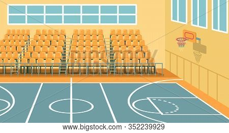 Sports Hall At High School For Team Trainings And Basketball Games. Perfect Venue For Events. Gym Av