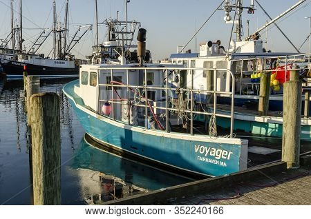 Fairhaven, Massachusetts, Usa - February 23, 2020:  Lobster Boat Voyager Sitting At Dock On Windless