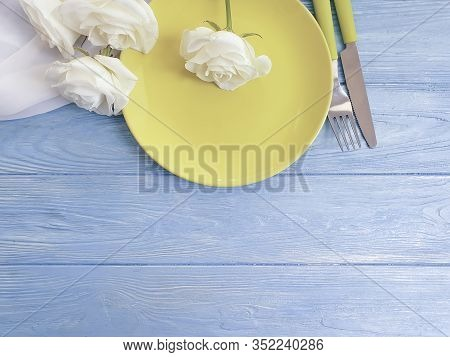 Plate, Rose Flower On Wooden Background Nostalgia