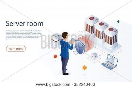 Server Room Isometric Vector. Web Hosting Concept With Character. Web Hosting Isometric Vector. Inte