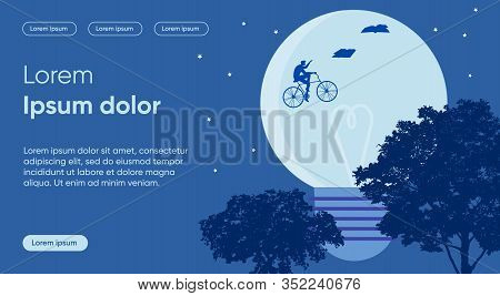 Study Target Flat Landing Page Vector Template. Striving For Goal, Learning Idea Metaphor. Bicyclist