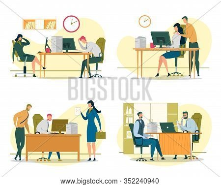 Business Situations Flat Vector Illustrations Set. Company Staff, Corporate Office Workers Cartoon C