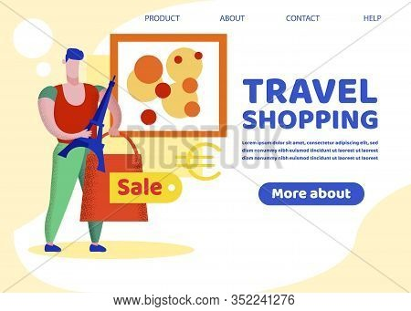 Travel Shopping Banner, Man Holding In Hands Paper Bag And Souvenir Of Eiffel Tower, Euro Sign. Tour