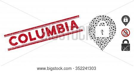 Rubber Red Stamp Seal With Columbia Phrase Between Double Parallel Lines, And Mosaic Locker Marker I