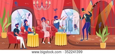 Men And Women Characters - Visitors In Restaurant With Entertainment Program Or Cabaret With Dining