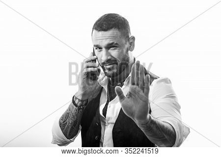 Business Call. Man Well Groomed Rich Fashionable Macho. Clothes And Accessories. Fashion Macho. Mobi