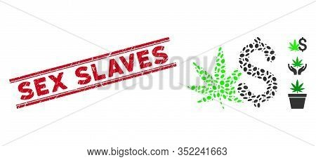 Rubber Red Stamp Seal With Sex Slaves Phrase Between Double Parallel Lines, And Mosaic Cannabis Busi