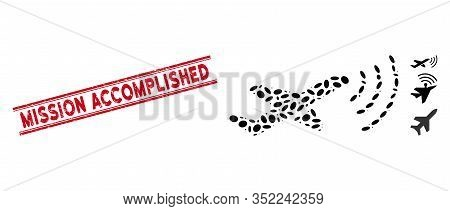 Grunge Red Stamp Seal With Mission Accomplished Caption Between Double Parallel Lines, And Collage R