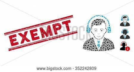 Corroded Red Stamp Watermark With Exempt Caption Between Double Parallel Lines, And Mosaic Radio Man