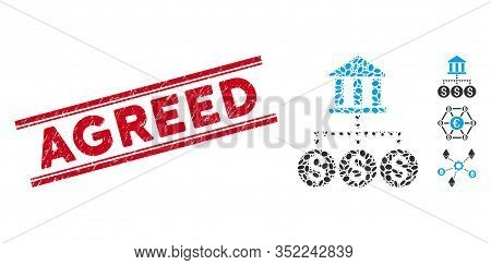 Rubber Red Stamp Watermark With Agreed Caption Inside Double Parallel Lines, And Mosaic Bank Structu