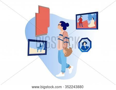 Woman Viewed Paintings In Museum. Exhibition Center. Vector Illustration. White Background. Walk Thr