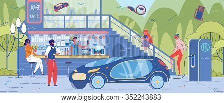 Electric Or Hybrid Car Arouses Interest Among Citizens. Advanced Ecological Friendly Technology Appe