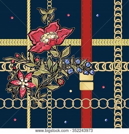 Fantasy Flowers In Retro, Vintage, Jacobean Embroidery Style With Gold Chains. Embroidery Imitation