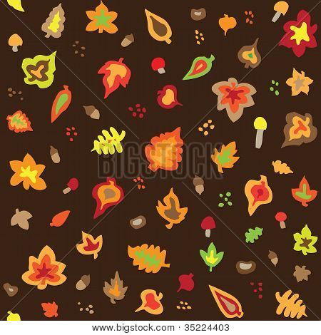 Seamless retro fifties autumn leaves pattern