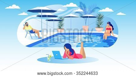 Woman With Laptop And Cocktail Lies On Pool Background. People Relaxing By Pool. Coworking Center. V