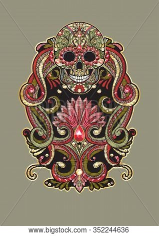 Patch, Embroidery Imitation. Decorative Floral Motif With Human Skull In Retro, Vintage, Jacobean Em