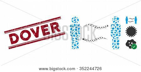 Rubber Red Stamp Seal With Dover Phrase Inside Double Parallel Lines, And Mosaic Persons Worms Excha