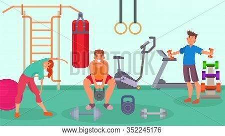 Gym, Fitness, Sport Equipment For Training And People Man, Woman Vector Illustration. Healthy Exerci
