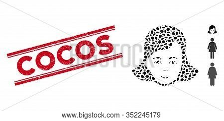 Grunge Red Stamp Seal With Cocos Text Between Double Parallel Lines, And Mosaic Lady Face Icon. Mosa