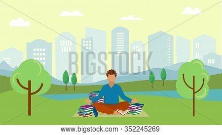 Student Young Man Meditates In City Urban Park Vector Illustration. Meditating Guy Sitting On Grass