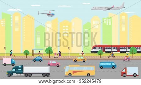 City Transportation Concept Vector Illustration. Urban Road Street Transport Traffic And People. Car