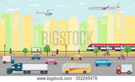 City Transportation Concept Vector Illustration. Urban Road Street Transport Traffic And People. Car