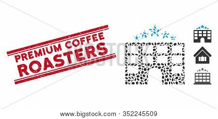 Distressed Red Stamp Seal With Premium Coffee Roasters Phrase Between Double Parallel Lines, And Mos