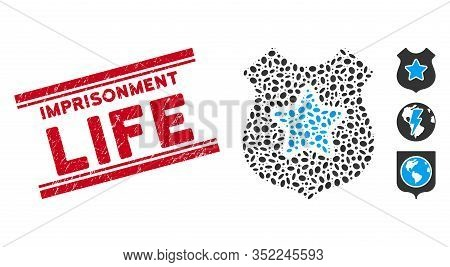 Grunge Red Stamp Seal With Imprisonment Life Text Inside Double Parallel Lines, And Collage Bulletpr