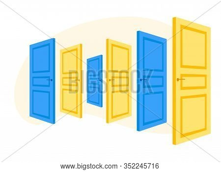 Doors Assortment On Store Or Promotion Exhibition Stand. Furniture Showroom Presentation, Expo Showc