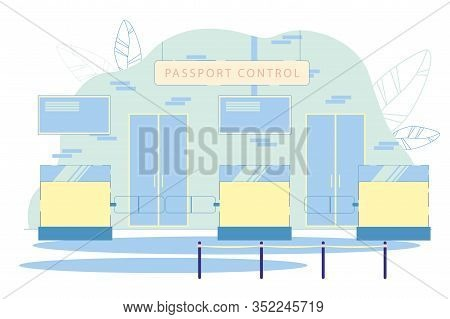 Passport Control Department Interior With Customs Officers Desks And Barrage Installations. Id Docum